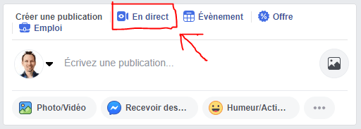 Passer en direct avec Facebook