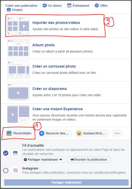 Importer une vidéo dans Facebook